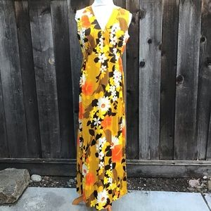 Vintage Hawaiian Dress Maxi Floral 70s